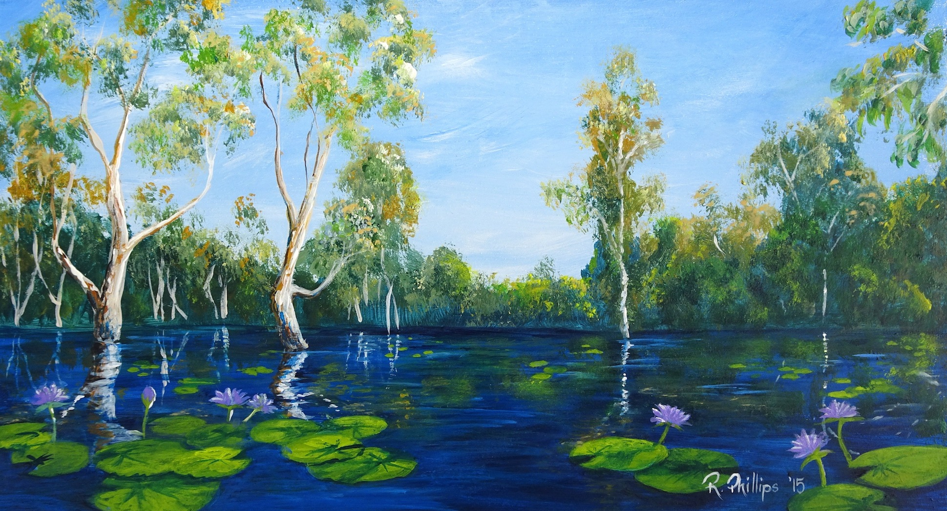 Miniature Landscape painting of the Yellow Water Billabong