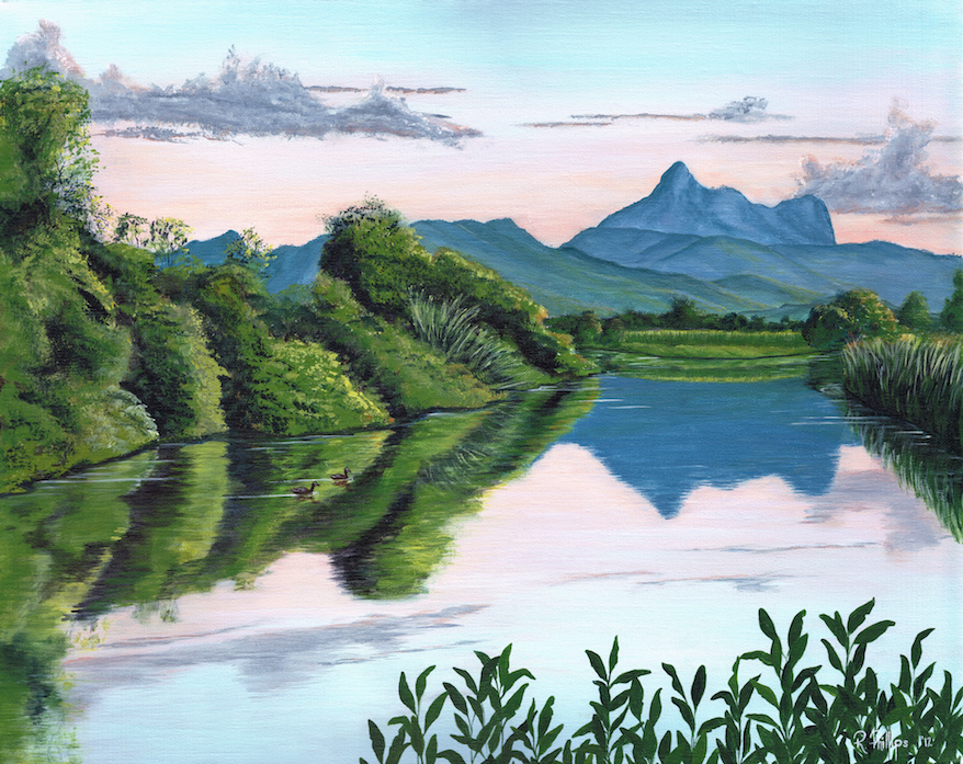 Landscape Painting from the Tweed Valley region as Dusk settles over the Tweed River with Wollumbin in the background