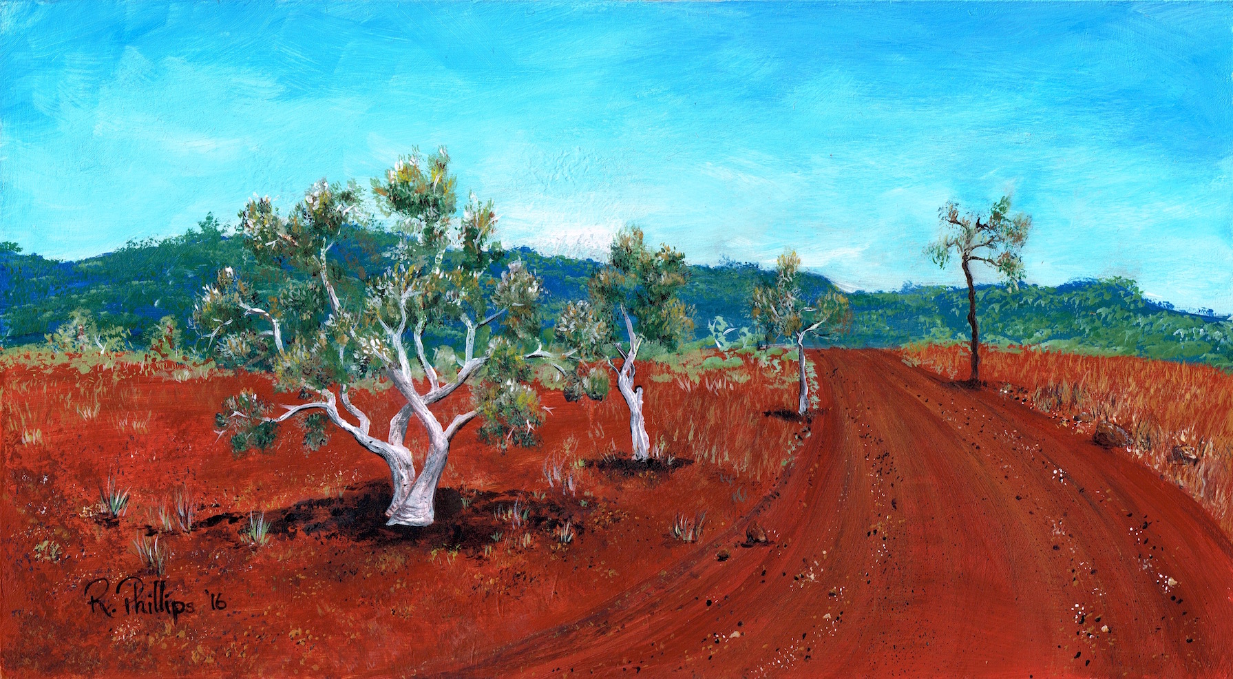 Miniature Landscape painting of stark white ghost gums against the red earth of the Australian Outback